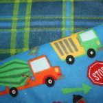 Construction Trucks / Blue Plaid
