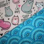 Pink Cats / Teal Geometric